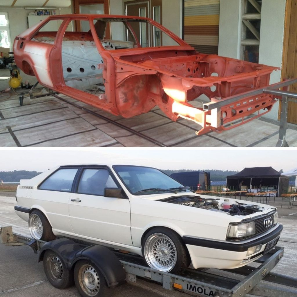 Vorher/Nachher Bild mit dem Auto Drehgestell